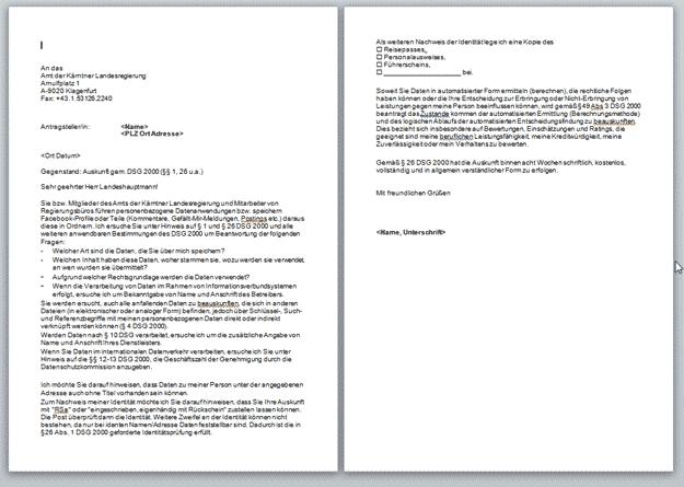 Musterbriefe Vorlage : Kärnten systematische bespitzelung von journalisten k