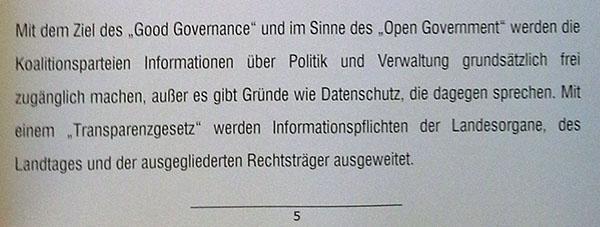 OpenGovernment und Transparenzgesetz